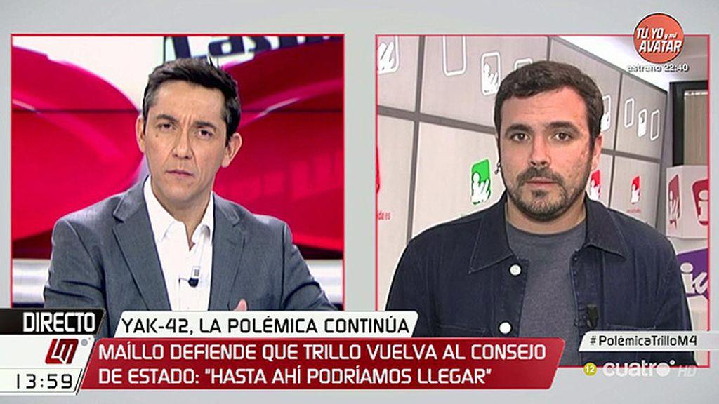 """Alberto Garzón: """"Creo que es una evidencia que se está protegiendo a Trillo"""""""
