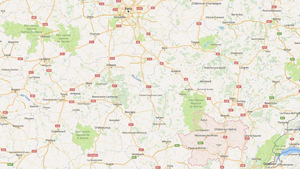 Zona en la que ha tenido lugar el accidente de autobús en Francia