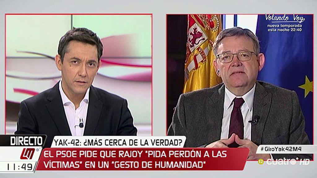 """Ximo Puig, sobre el Yak-42: """"El presidente del Gobierno debe ser quien asuma la responsabilidad política"""""""