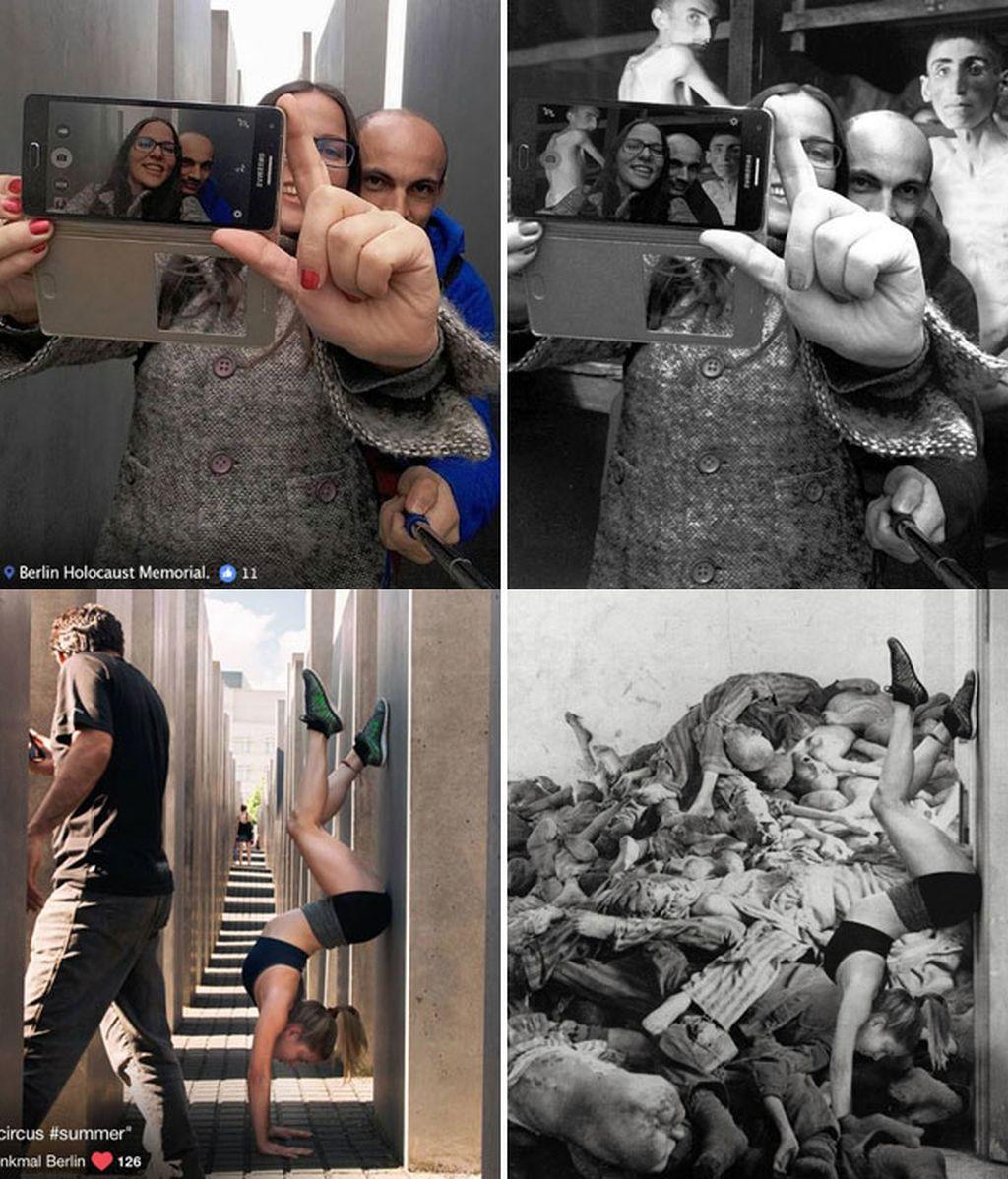 Crítica a los selfies en Monumento Holocausto