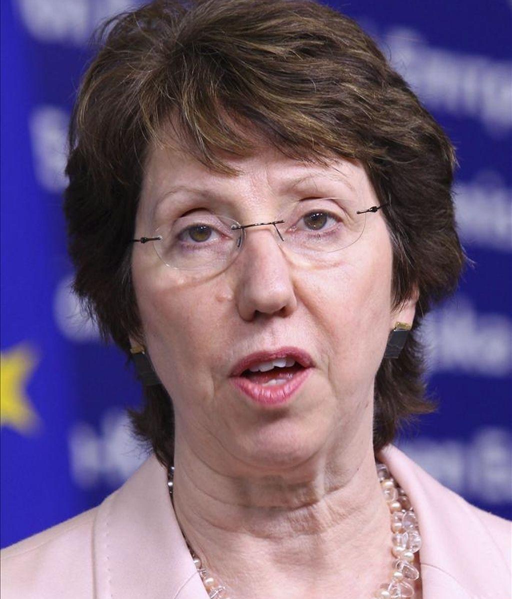 BÉLGICA- UE- ORIENTE MEDIO:BRU012 BRUSELAS (BÉLGICA) 13/04/2011.- La alta representante de la UE, Catherine Ashton, interviene en una rueda de prensa, tras discutir en una reunión las opciones para solventar el conflicto Israel-Palestina, hoy, miércoles 13 de abril de 2011, en la sede de la Comisión Europea, en Bruselas, Bélgica. EFE/Julien Warnand PROHIBIDO SU USO EN BÉLGICA [PROHIBIDO SU USO EN BÉLGICA]