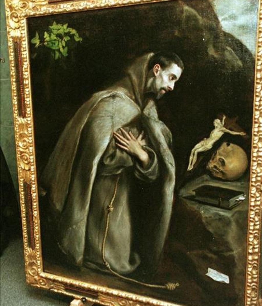"""En la imagen, el cuadro """"San Francisco de Asís meditando de rodillas"""", obra de Doménico Theotokopolis """"El Greco"""". La obra, que se encontraba depositada en los fondos del Museo Provincial de Alava (País Vasco) era atribuída a algún pintor de la escuela del pintor cretense. EFE/Archivo"""