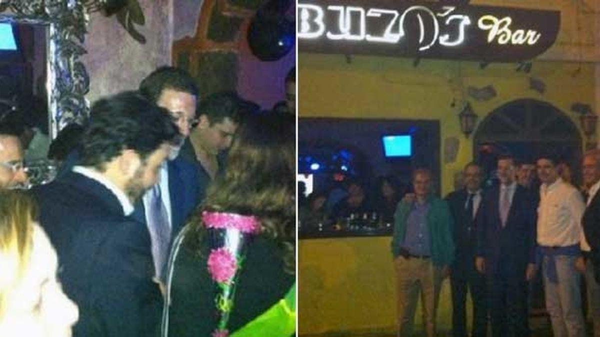 Dos instantáneas del líder del PP, Mariano Rajoy, en un local de copas en Lanzarote. Fotos: Buzos Bar