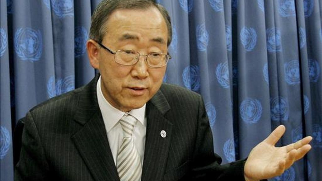 """El secretario general de la ONU, Ban Ki-moon, aseguró que Naciones Unidas busca constantemente cómo avanzar en este objetivo: """"A veces optamos por alzar la voz, alta y públicamente. En otras ocasiones, vemos que el camino de la diplomacia algo menos pública parece mejor"""". EFE/Archivo"""