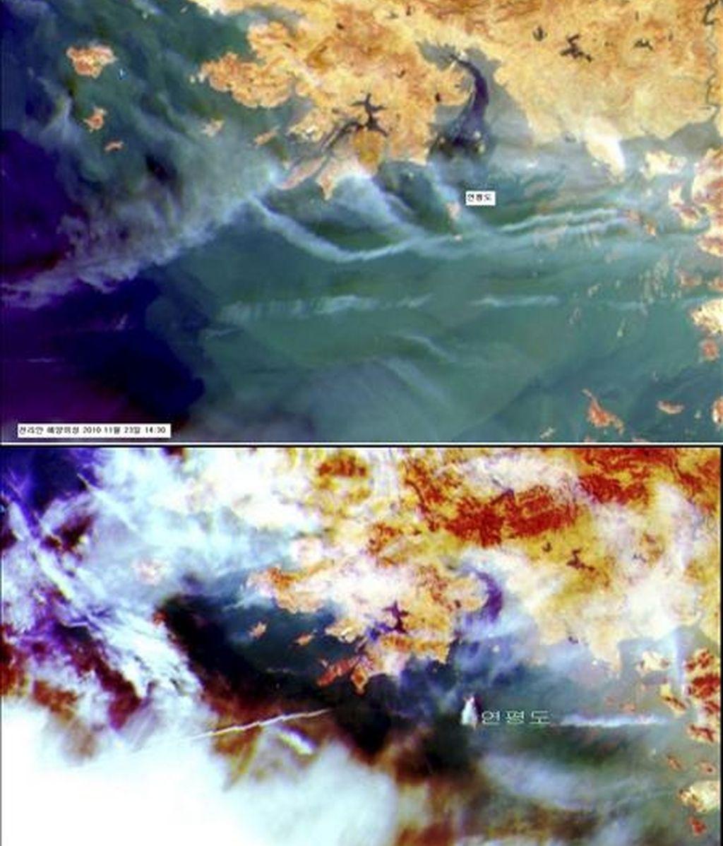 Combo fotográfico compuesto por dos imágenes satelitales donde se observa la isla surcoreana de Yeonpyeong, antes (2:30 p.m., arriba) y después (3:30 p.m., abajo), de un ataque por sorpresa de Corea del Norte que causó hoy, 23 de noviembre de 2010, dos bajas militares a Corea del Sur. EFE/Korea Ocean Technology & Development Institute