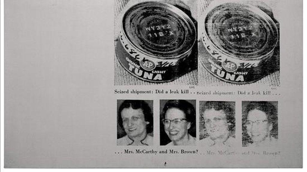 Dos amas de casa norteamericanas, víctimas ambas de un envenenamiento por atún en conserva, fueron inmortalizadas por Andy Warhol en un lienzo que se ofrece al mejor postor en una subasta de arte contemporáneo el próximo 25 de junio en Londres. EFE