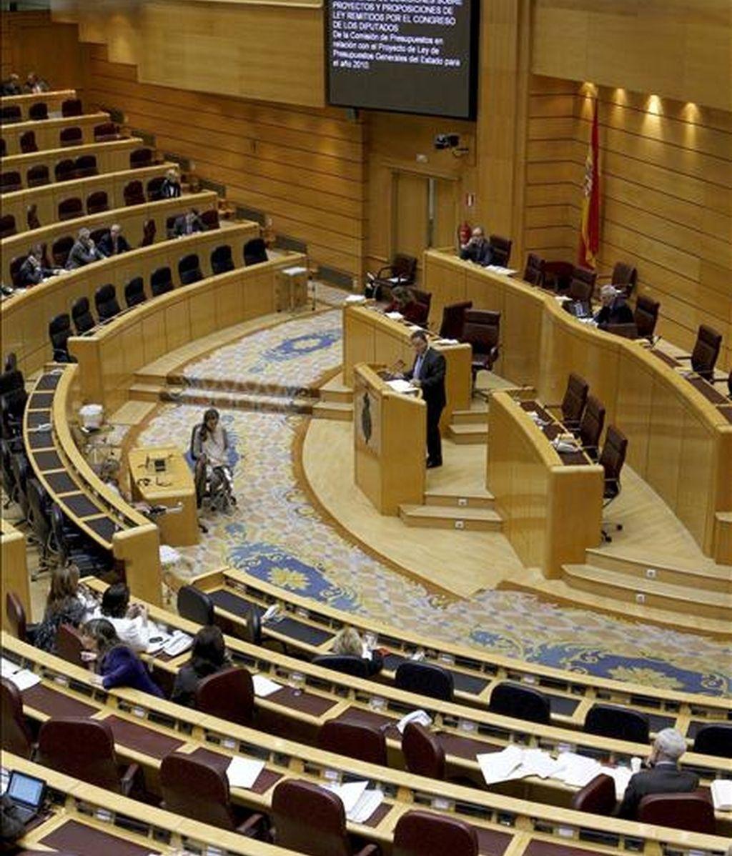 CiU, ERC, ICV y BNG presentaron hoy en el Senado sus propuestas de veto al proyecto de Ley de Presupuestos Generales del Estado para 2011 que se suman a la ya anunciada por el PP. En la imagen, vista general del Senado. EFE/Archivo