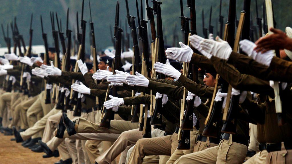 Ensayo para el desfile del Día de la India