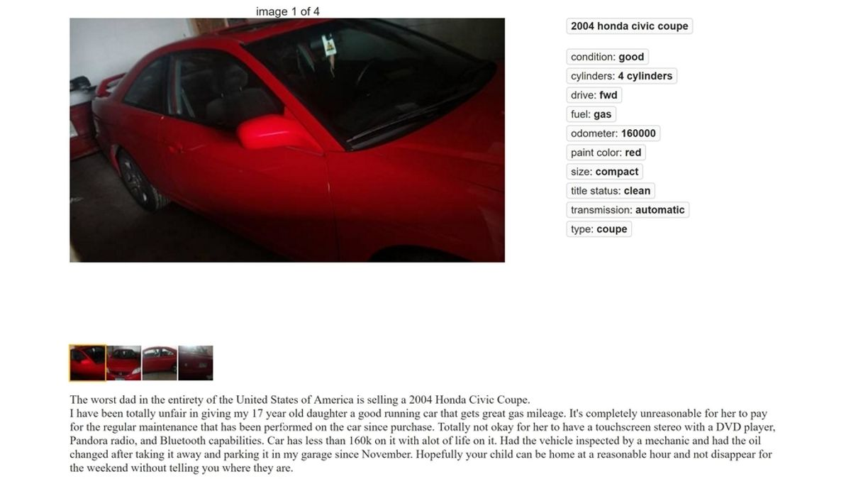 El anuncio de venta de un coche que ha publicado el 'peor padre de Estados Unidos'