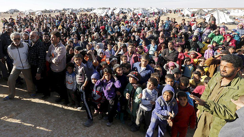 Refugiados en el campamento de Al Rukban
