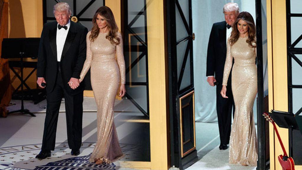 Cena de gala, en la que Melania eligió un vestido largo de color champagne