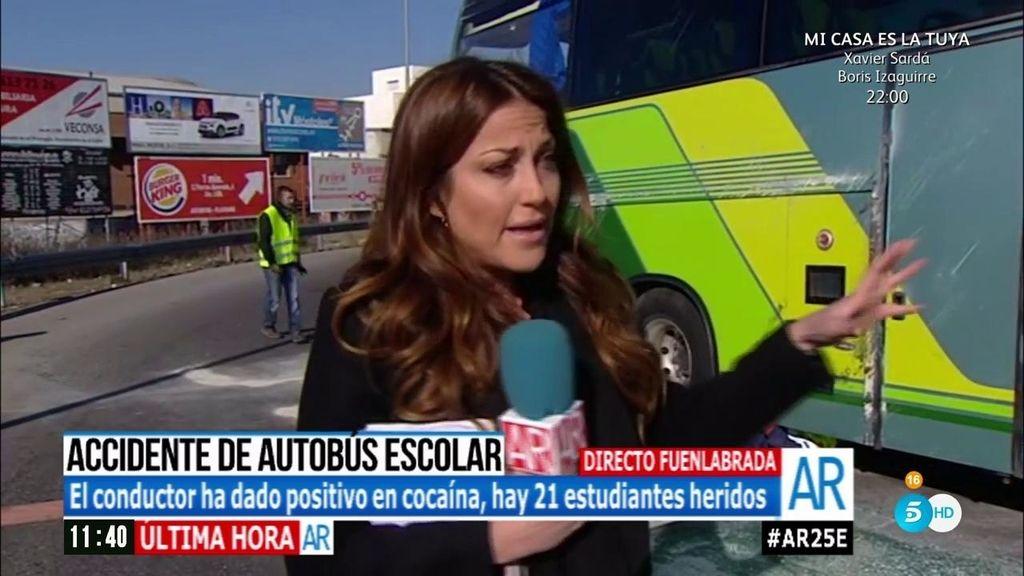 Los niños heridos salieron del autobús accidentado por la luna trasera