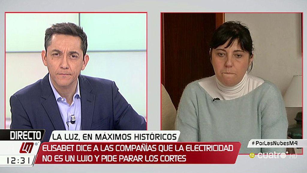 """Elisabeth Fernández: """"No podemos poner la calefacción por la subida de la luz"""""""