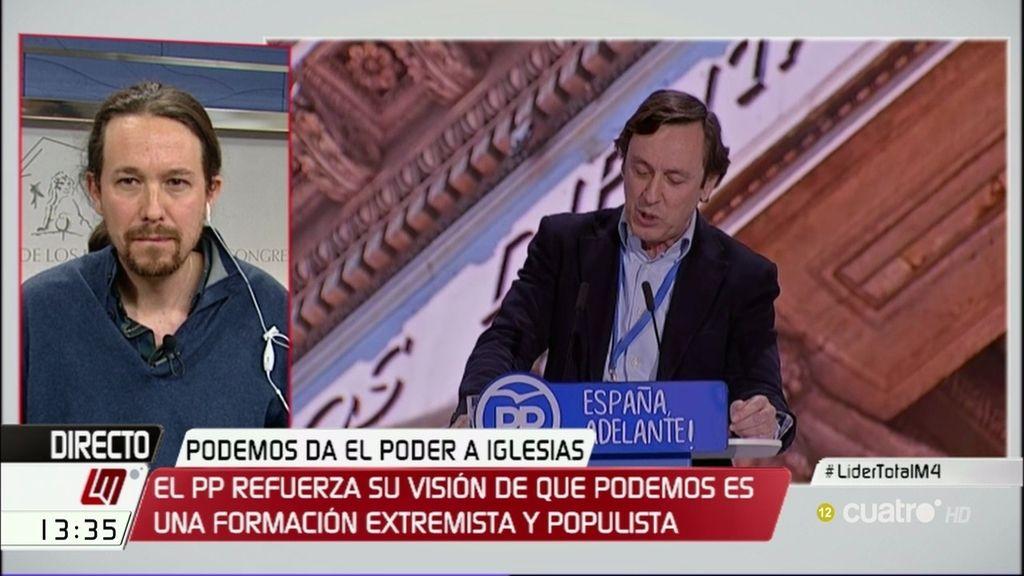 """Iglesias: """"En nuestro Congreso se debaten ideas, en el del PP hay manos de madera"""""""