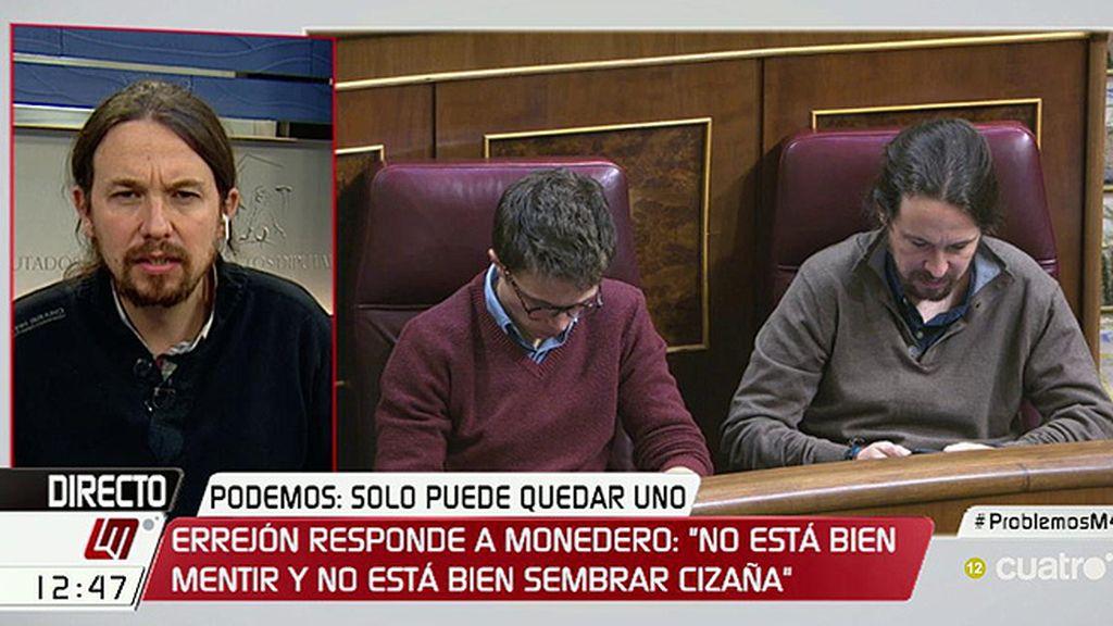 """Pablo Iglesias, de Íñigo Errejón: """"Diferenciamos en cuestiones estratégicas"""""""