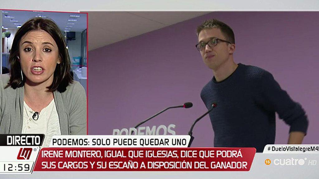"""Irene Montero: """"Si gana Íñigo pondré mis responsabilidades a disposición de los órganos dirección"""""""
