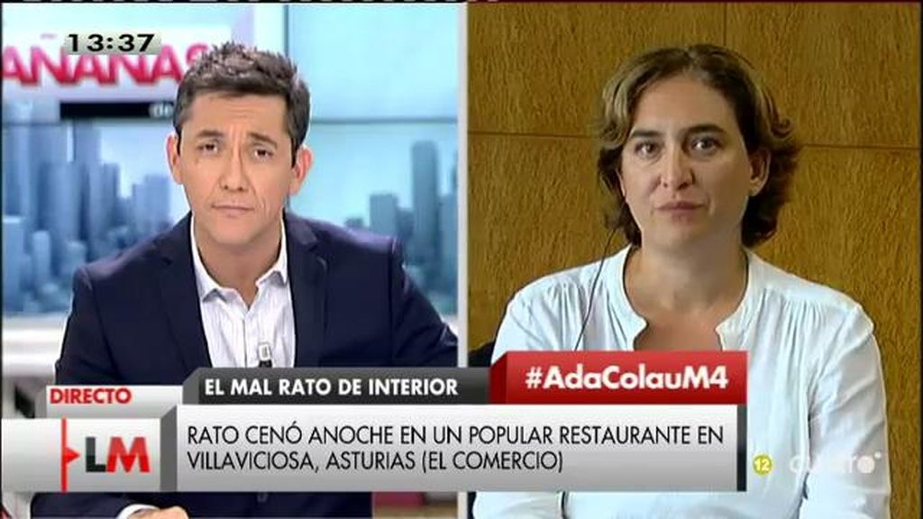 """Ada Colau, de Fernández Díaz y Rato: """"Yo sufrí amenazas en su momento y no me recibió ningún ministro"""""""
