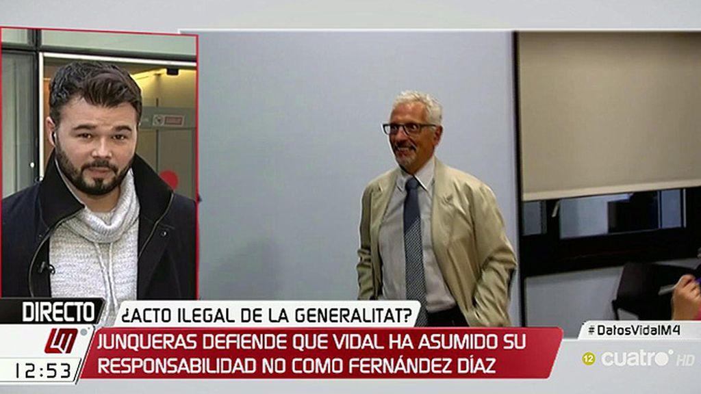 "G.Rufián: ""Ojalá se dedicara tanto tiempo a ilegalidades manifiestas como a inventadas"""
