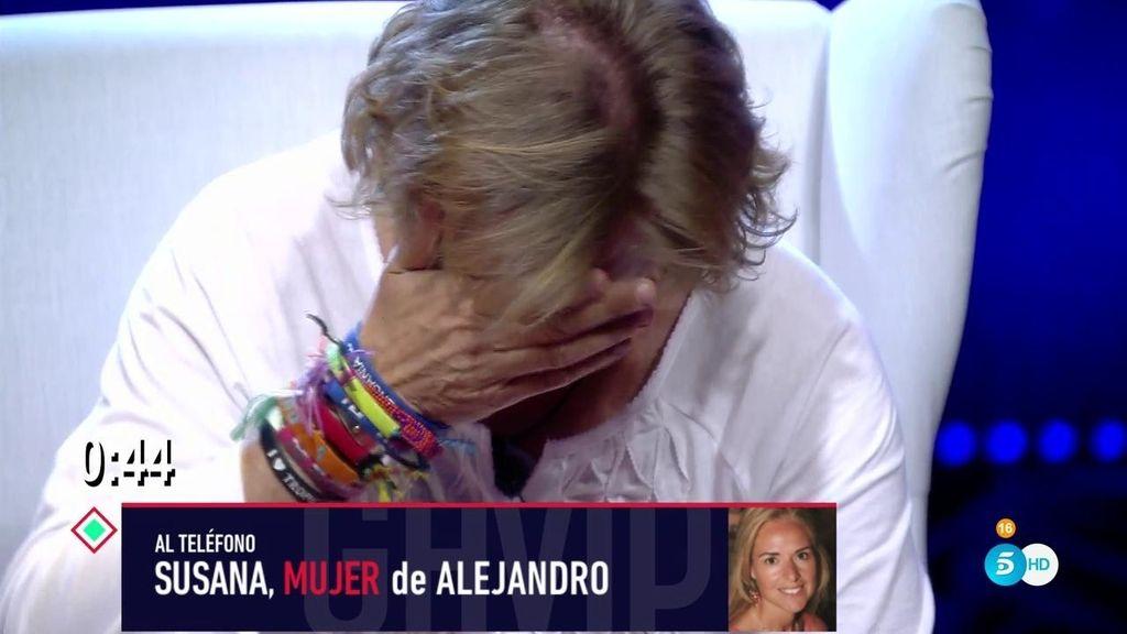 Alejandro Abad, roto entre lágrimas tras la llamada de su mujer y sus hijos
