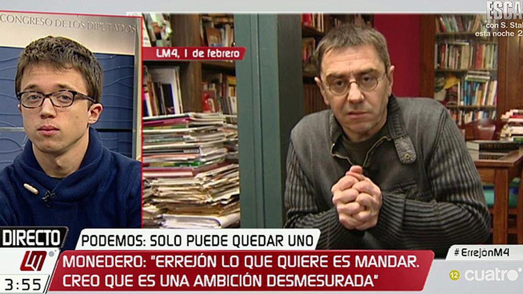 """Íñigo Errejón responde a Monedero: """"Las declaraciones que buscan sembrar cizaña son irresponsables"""""""
