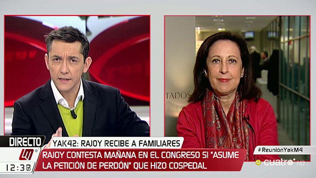 """Margarita Robles: """"Estoy segura de que el gobierno socialista nunca se ha llevado documentación que perteneciera al Estado"""""""