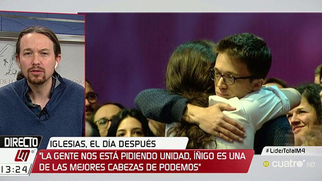 """Iglesias: """"Errejón tiene muchos años por delante y será una figura fundamental"""""""