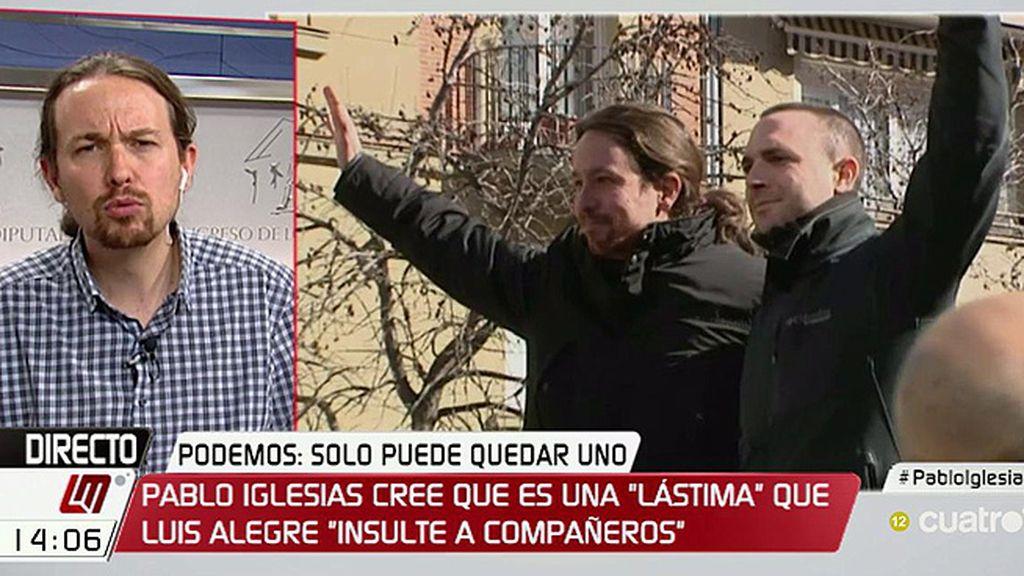 """Pablo Iglesias: """"Lamento que se hable de Luis Alegre porque insulte de una manera tan vil a compañeros"""""""