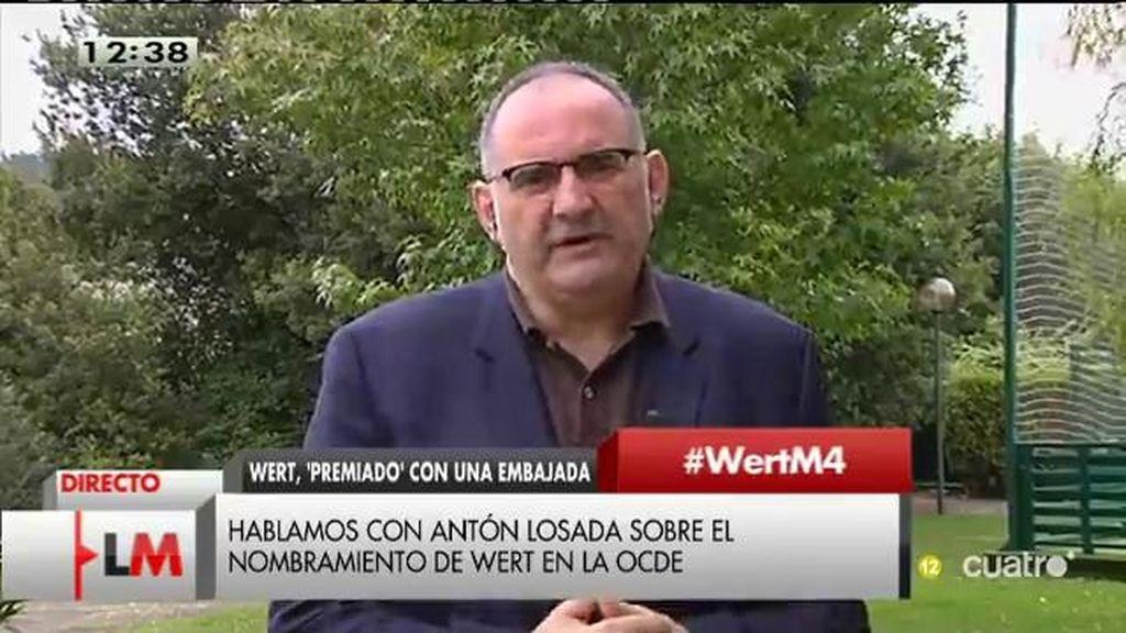"""Antón Losada: """"Wert podría ser un casoclaro  de 'jetocracia"""""""