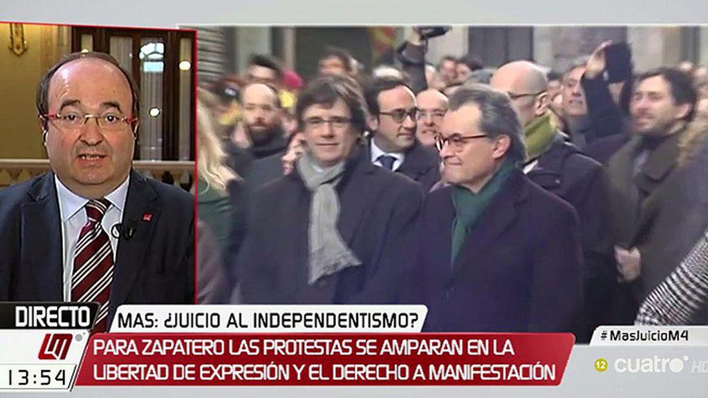 """Miquel Iceta: """"Los jueces van a dictar sentencia independientemente de que haya 50.000 o ningún manifestante"""""""