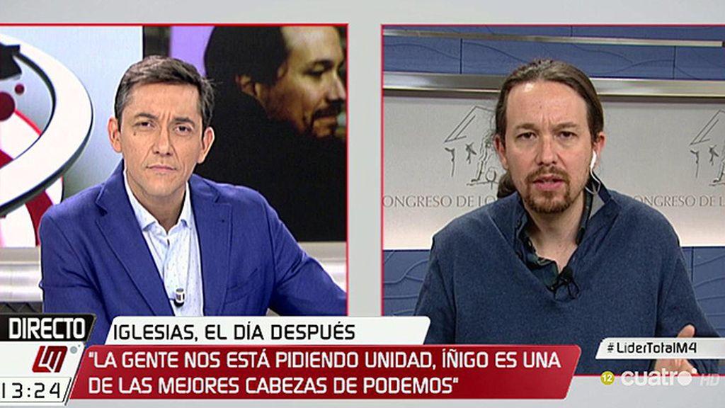 """Pablo Iglesias: """"Íñigo es de las mejores cabezas de nuestra organización,  creo que tiene que ocupar un papel fundamental"""""""