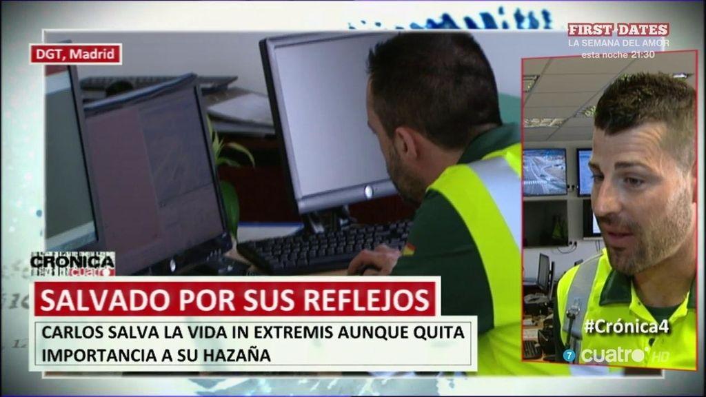 """Carlos, el guardia civil que se salva in extremis por sus reflejos: """"Fue innato, salté"""""""