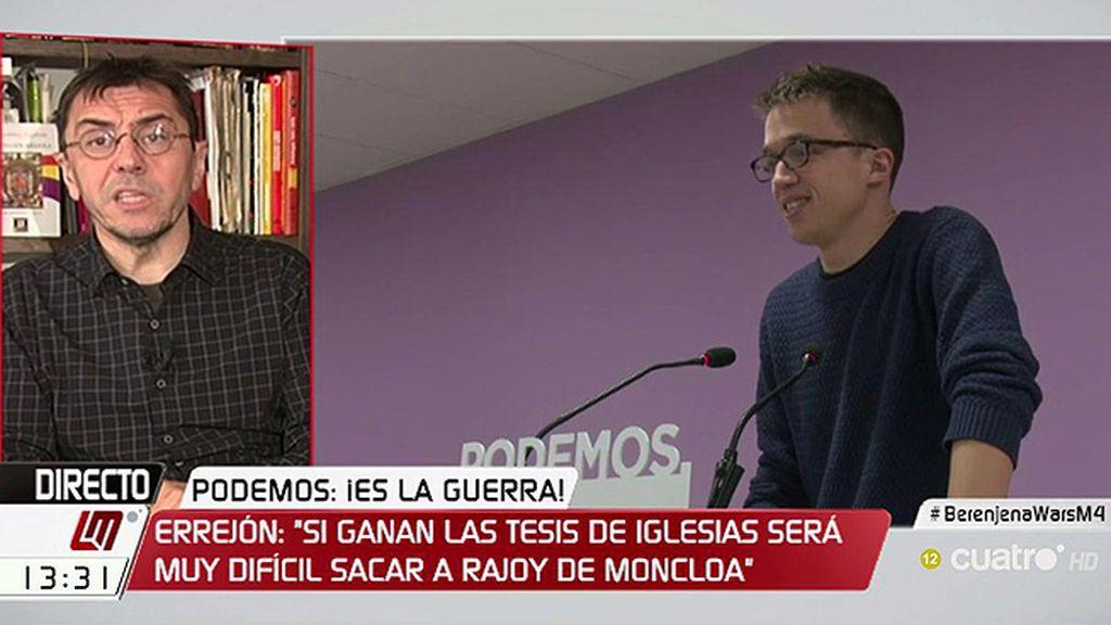 """Monedero, de Errejón: """"Que con su ambición pueril pretenda sustituir al secretario general solo ha servido para dividir"""""""