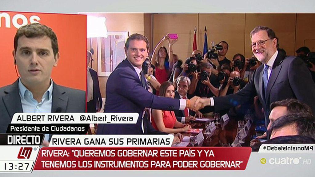 """Albert Rivera: """"Si el Gobierno cumple el acuerdo todo será más ágil, si no, buscaríamos mayoría alternativa"""""""