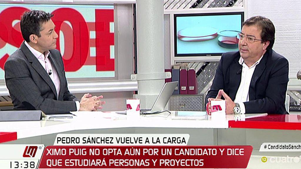 """Fernández Vara, de Susana Díaz: """"Es muy complicada cualquier otra opción que no fuera que fuera candidata"""""""