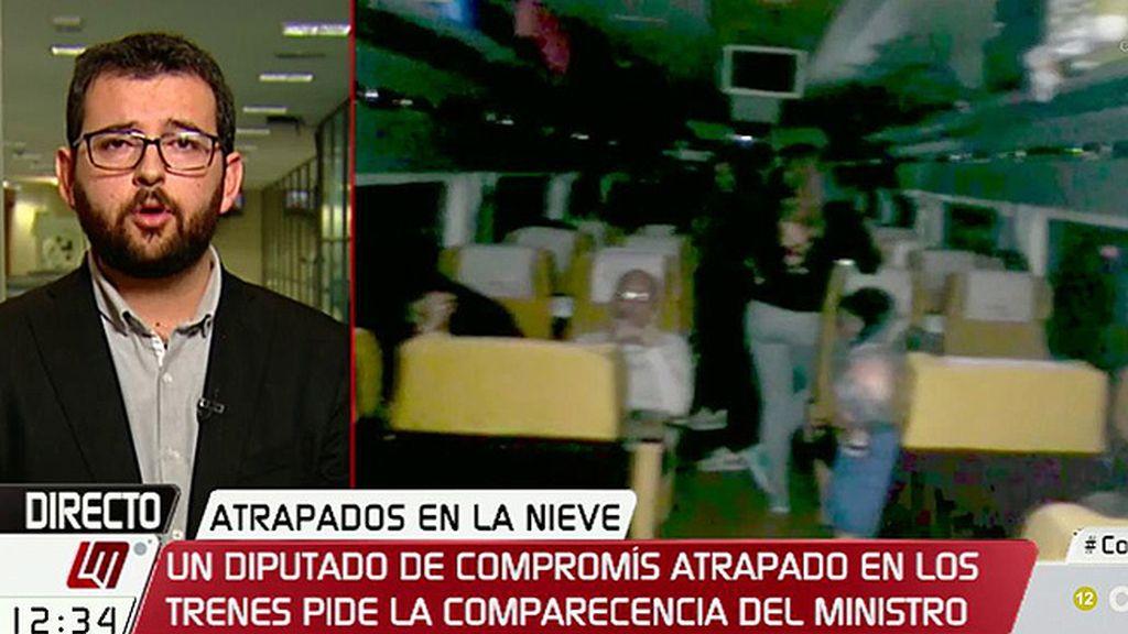 Ignasi Candela, diputado de Compromís, quedó atrapado por la nieve en un tren