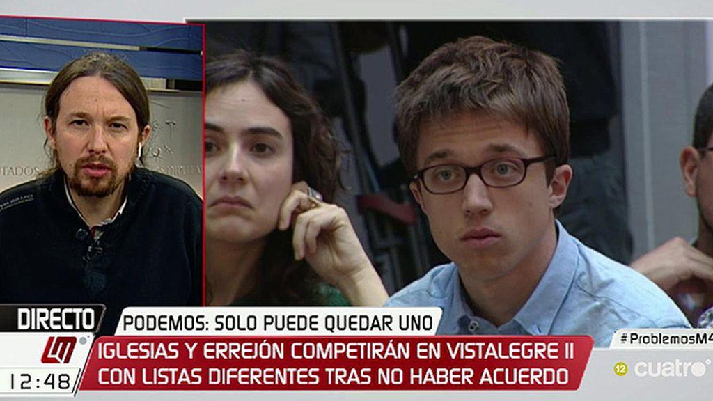 """Iglesias: """"Si gana la lista de Íñigo, será el líder y yo seguiré al lado en un papel más discreto"""""""