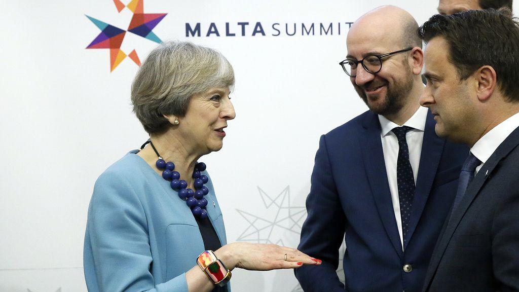 May con los líderes europeos