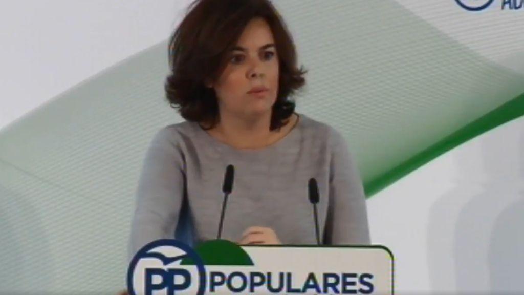 Soraya Saenz de Santamaría en su comparecencia en Málaga