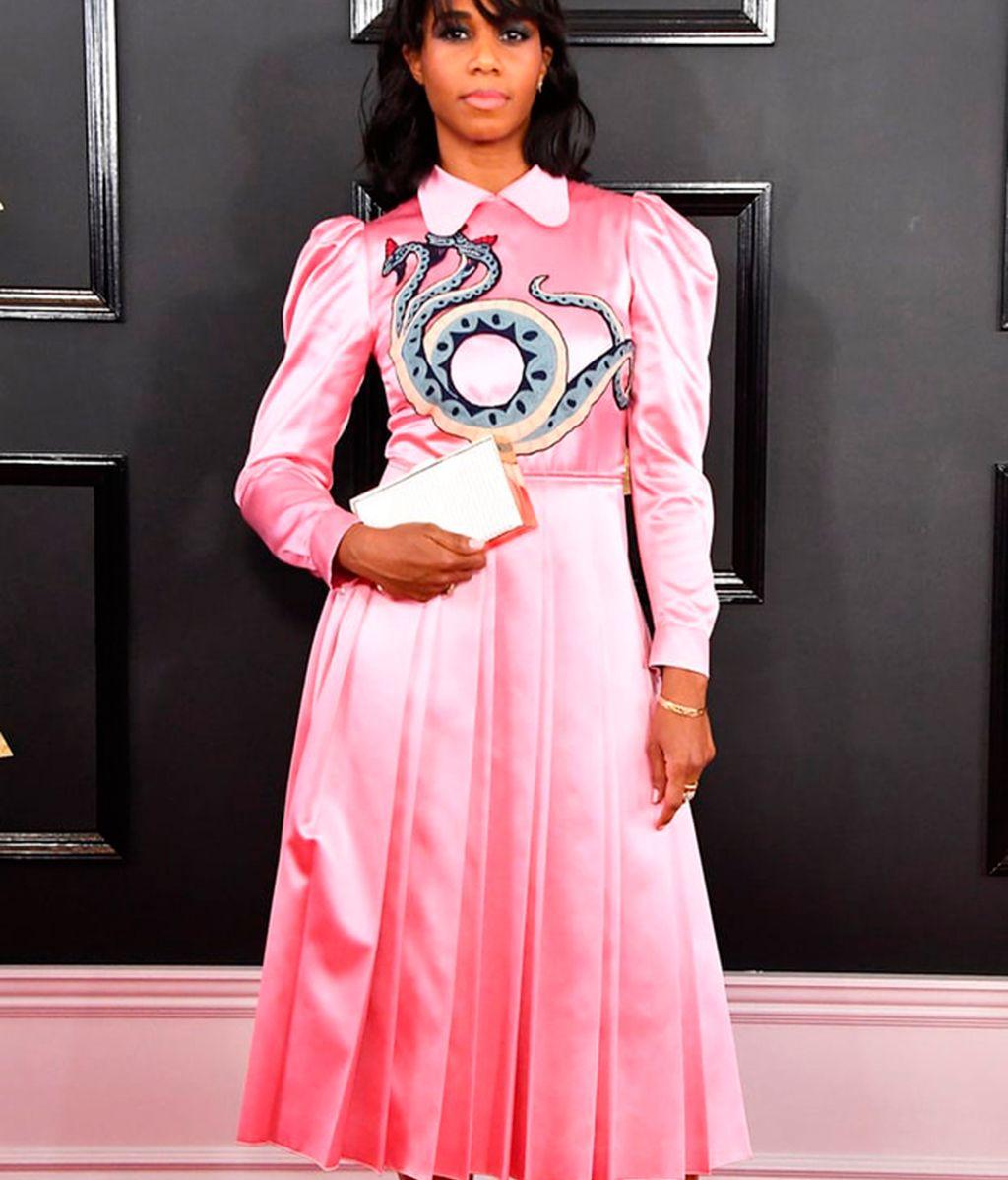 Santigold con vestido de Gucci