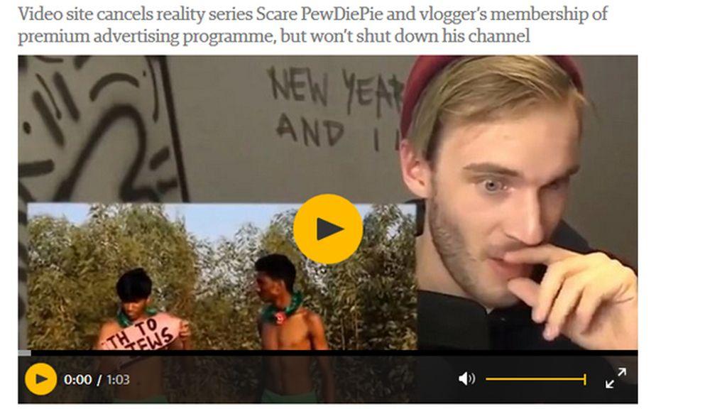 El videobloguero Felix Kjellber, más conocido como PewDiePie cruiticado por sus contenidos antisemitas