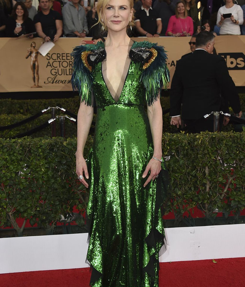 Nicole Kidman apostó por el 'brilli brilli' en verde, un diseño de Gucci