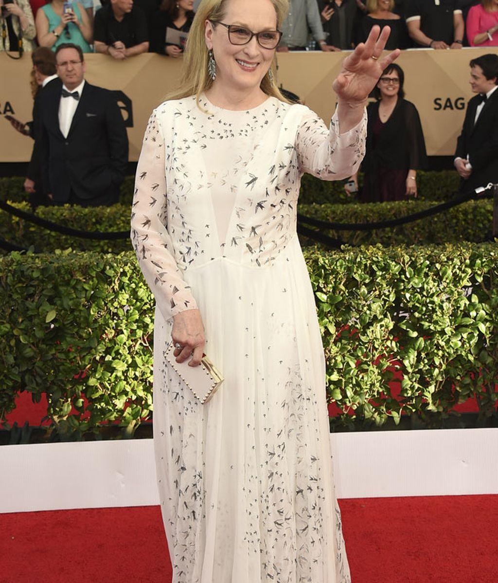 Radiante y discreta, Meryl Streep eligió un diseño de Valentino