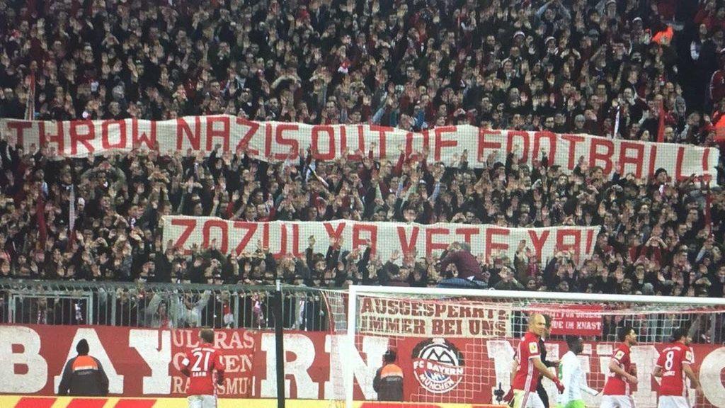 Hinchas del Bayern contra Zozulya