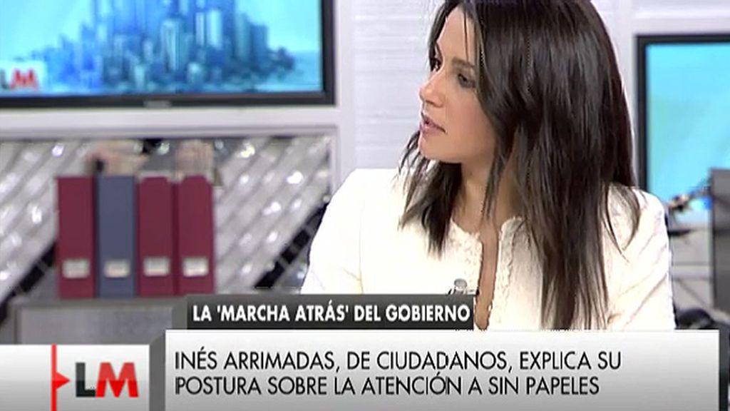 """I. Arrimadas: """"Defendemos que  las personas que están en situación irregular tengan cobertura sanitaria, pero no la totalidad"""""""