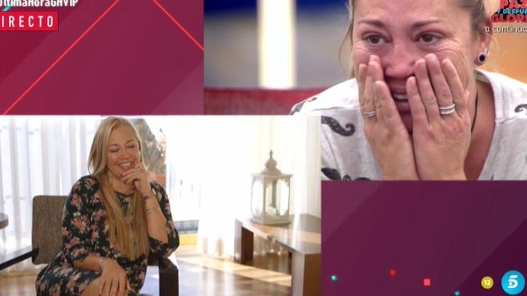 Belén Esteban no puede contener las lágrimas al ver su vídeo de presentación