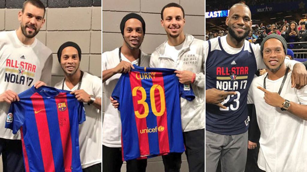 Ronaldinho en el All Star de la NBA