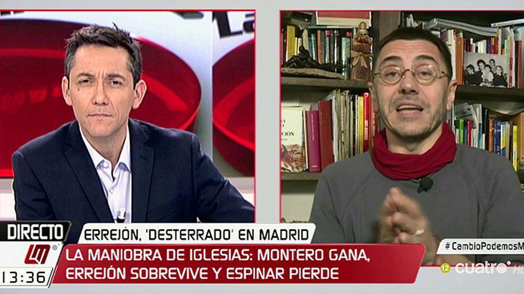 """Monedero: """"La gente esperaba que Iglesias cortara cabezas pero ahí está el acuerdo"""""""