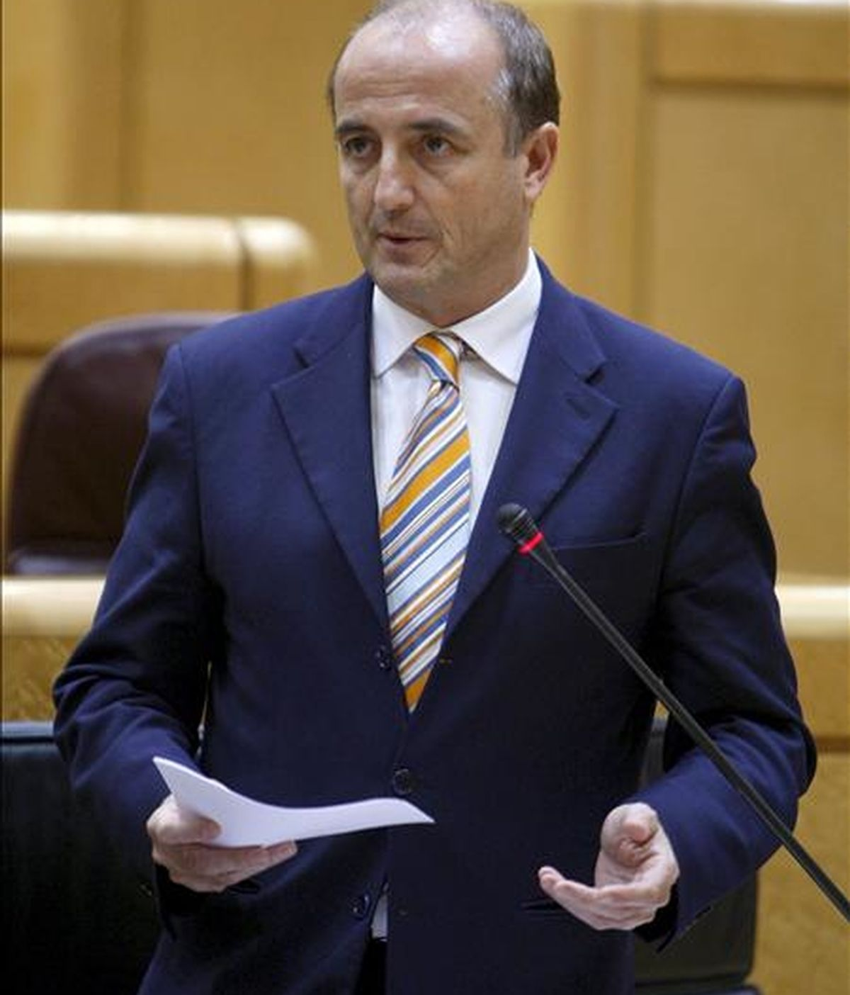 El ministro de Industria Miguel Sebastián, durante su intervención en la sesión de control al Ejecutivo celebrada esta tarde en el Senado. EFE