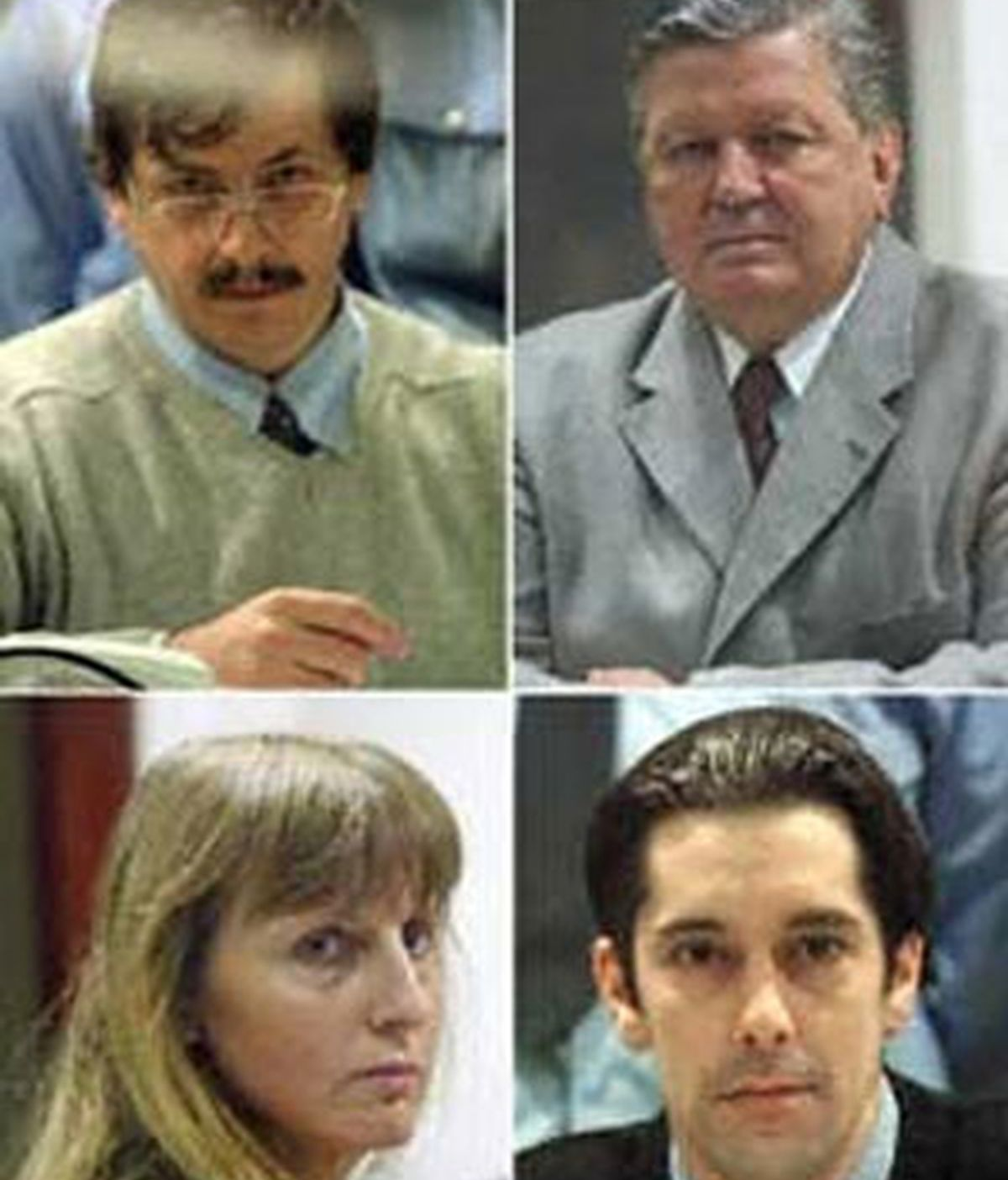 Los cuatro implicados en los crímenes: Marc Detroux, Michel Nihoul, Michelle Martin y Michel Lelièvre. Foto: AP.