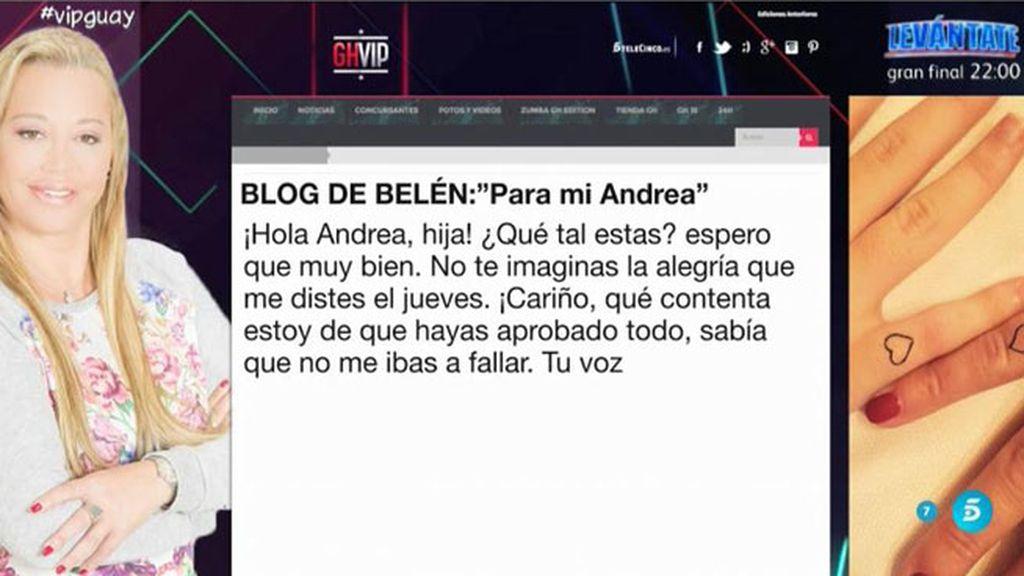 "Belén Esteban, a Andreíta: ""Oír tu voz me dio mucha energía"""